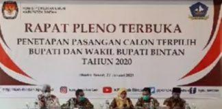 Rapat pleno terbuka penetapan Apri-Roby sebagai paslon terpilih Bupati dan Wabup Bintan