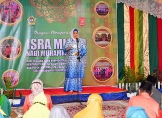 Wakil Gubernur Kepri Marlin Agustina saat Isra' Mikraj Rumpun Melayu Bersatu di Tanjungbalai Karimun, Minggu (28/3/2021).