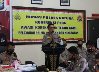 Kapolda Kepulauan Riau Irjen Pol Aris Budiman beserta rombongan melakukan kunjungan kerja ke Natuna, Senin (29/3/2021).