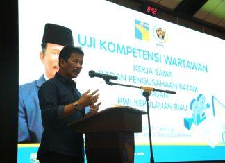 Kepala BP Batam, Muhammad Rudi, memberikan sambutan dalam Uji Kompetensi Wartawan yang dilaksanakan pada Sabtu (10/4/2021).