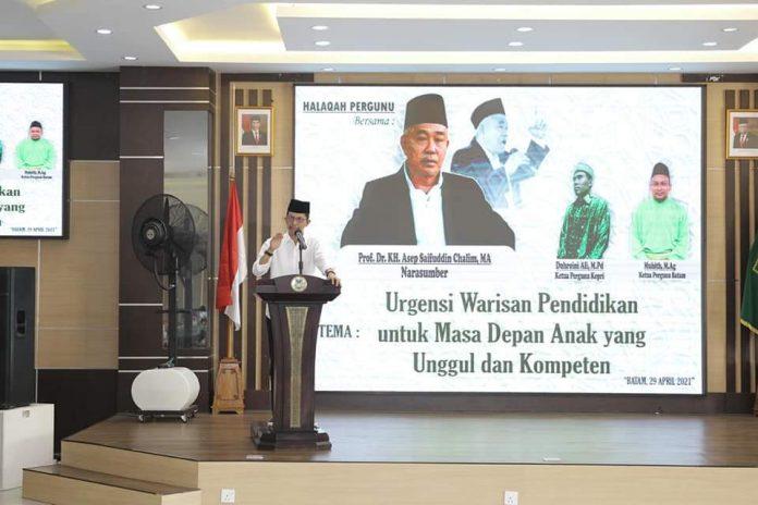 Wakil Wali Kota Batam, Amsakar Achmad pada acara halaqah persatuan guru NU Kota Batam, Kamis (29/4/2021).