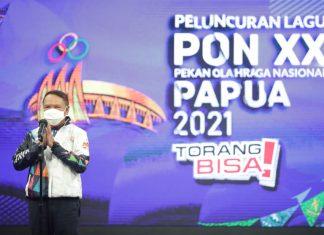 Menpora Amali meluncurkan lagu PON XX Papua 2021.