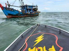 Tim gabungan Operasi mengamankan kapal ikan Malaysia di perairan Barat Daya Takong Iyu Karimun, Sabtu (11/9/2021).