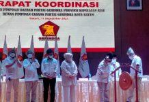 Sekretaris Jenderal Partai Gerindra, Ahmad Muzani, Rapat Koordinasi DPD Partai Gerindra Kepri dan DPC Gerindra Kota Batam, Sabtu (11/9/2021) malam di Hotel Aston.